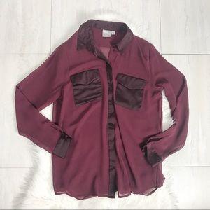 ASOS Sheer Button-Down Shirt Burgundy Blouse Sz 4